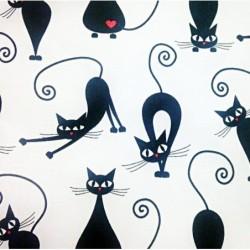 FLANELA KOTY kotki czarne na białym tle z...