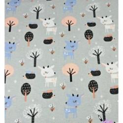 FLANELA SARENKI białe niebieskie wśród drzew na...