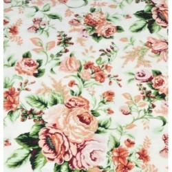 FLANELA róże herbaciane CYGAŃSKIE na białym tle