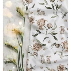 Bawełna premium IVORY flowers kwiaty króliczek...