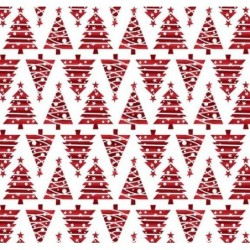 Tkanina świąteczna choinki trój katy czerwone...