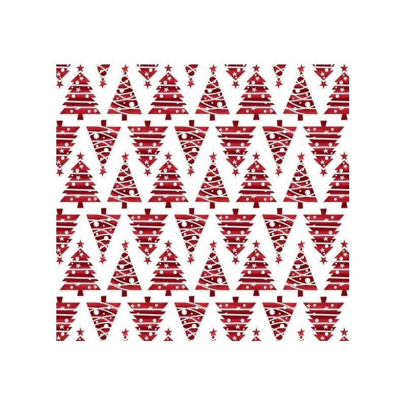 Tkanina świąteczna choinki trój katy czerwone gwiazdka na białym bawełna