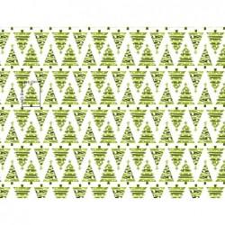 Tkanina świąteczna choinki trójkąty ZIELONE gwiazdka na białym bawełna