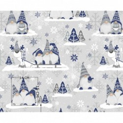 Tkanina świąteczna SKRZATY GRANATOWE z reniferem na szarobeżowym bawełna OSTATNI 1M