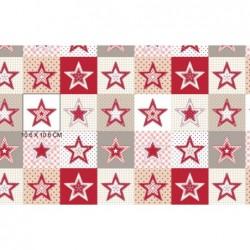 Tkanina świąteczna GWIAZDKI w pasach kwadraty biały czerwony beżowy biały bawełna