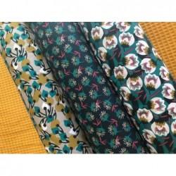 Bawełna KISNEK kwiaty na gałązkach oliwkowy...