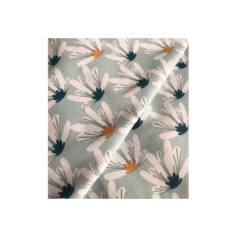 Bawełna MYRIEL magnolie na pastelowym miętowym