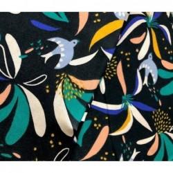 Bawełna LISBOA kwiaty ptaszki na bardzo ciemnym...