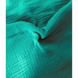 MUŚLIN bawełniany EMERAUDE mocny zielony turkus