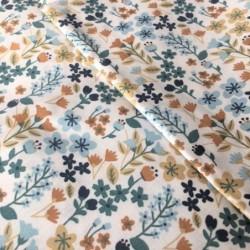 Bawełna MILLY kwiatki łączka beżowy niebieski z...