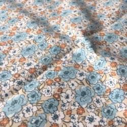 Bawełna KALMIA kwiatki łączka beżowy niebieski...