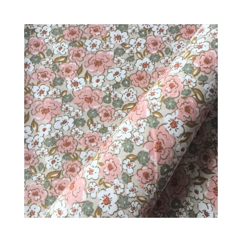 Bawełna KALMIA kwiatki łączka różowy zielony...