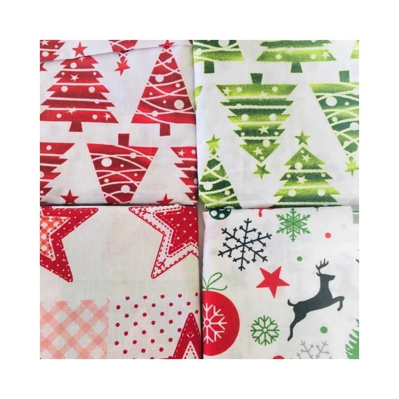 Zestaw 4 tkanin świątecznych 50x80 cm renifer...