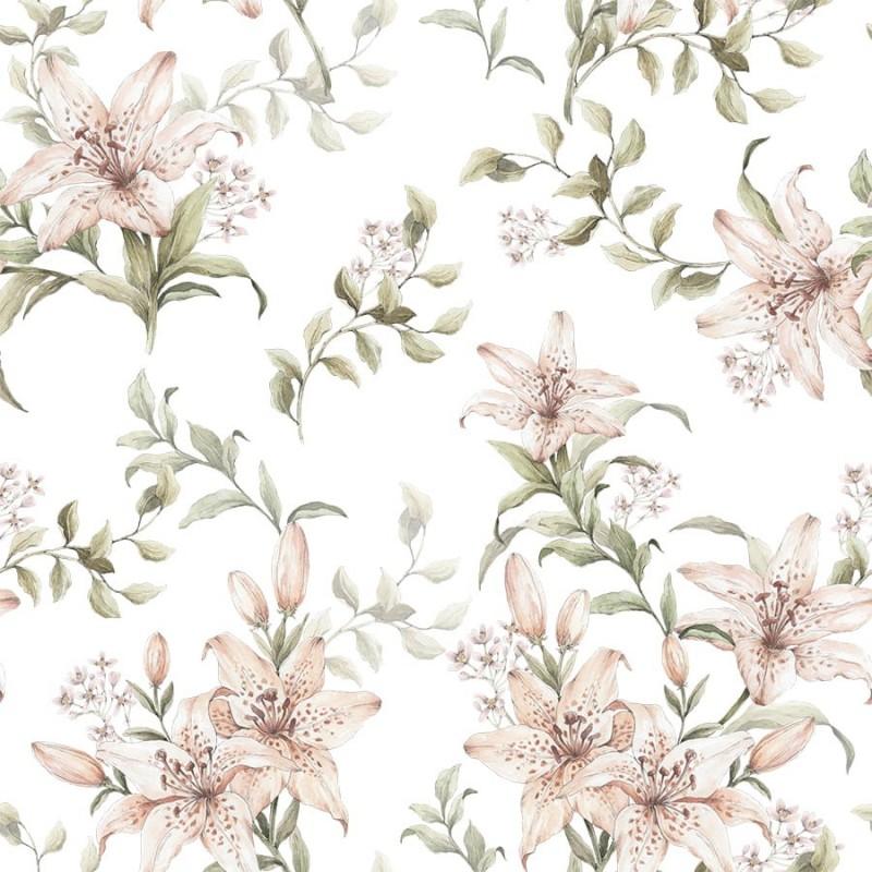 KONCOWKA dostepna 1 szt 50x150 cm Poliester wodoodporny LILIE kwiaty pudrowe różowe na białym