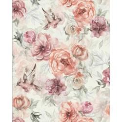 Bawełna premium kwiaty DALIE ANEMONY na jasnym tle