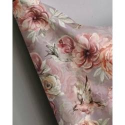 Bawełna premium kwiaty DALIE ANEMONY na lekkim...