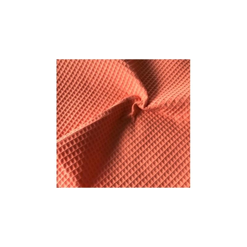 Bawełna WAFEL mały mięsisty PAPAYA pastelowy pomarańcz CERTFIKAT