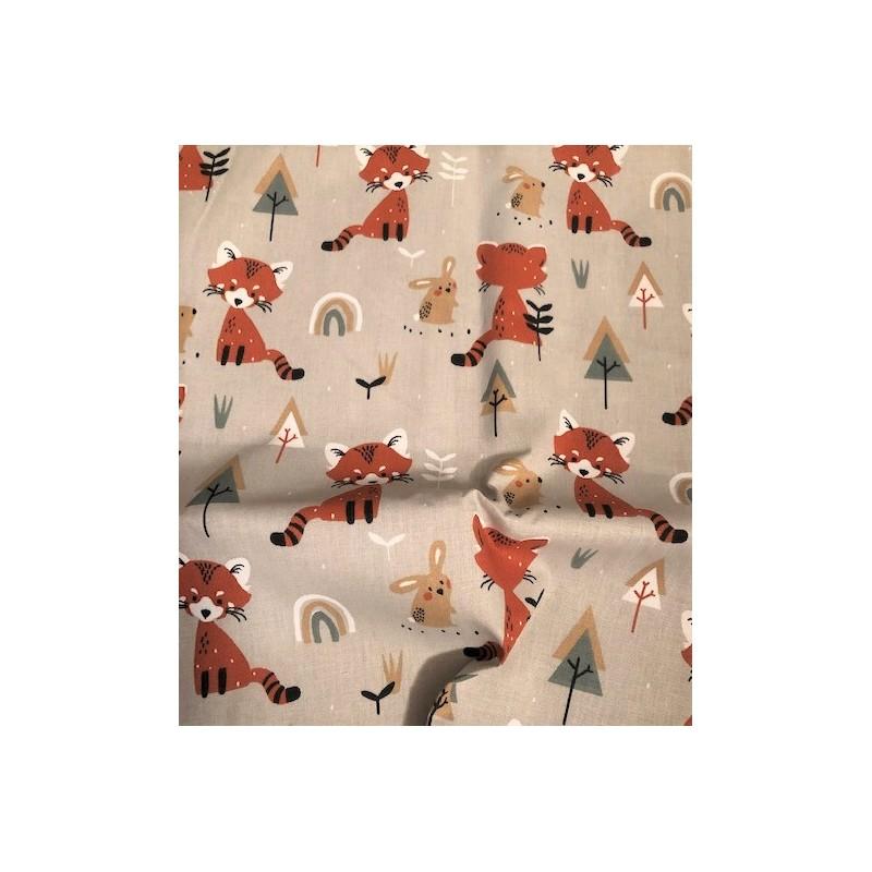 Bawełna PAOWAN LISKI rude tęcza choinki na beżowym