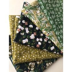 Bawełna VAOY listki małe na zielonym tle ciapki...