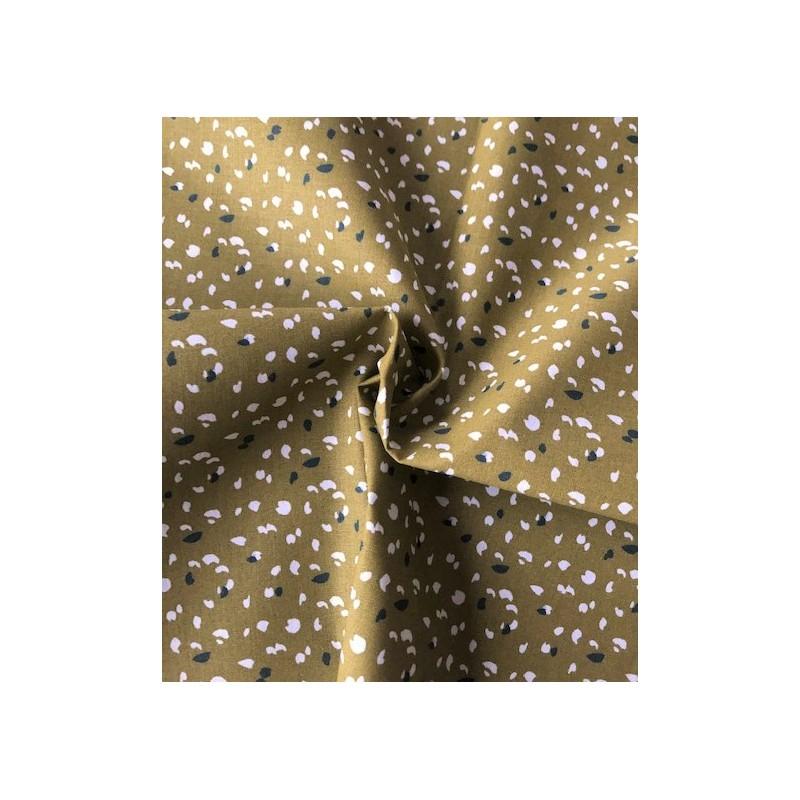 Bawełna JUKEO ciapki małe białe czarne na oliwkowym