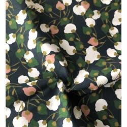 Bawełna KISNEK kwiaty na gałązkach biały różowy...