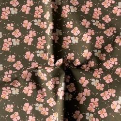 Bawełna KAMINI średnie kwiaty różowe  szare na...