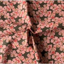 Bawełna KAMEKO kwiatki 4 cm różowe gęste na...
