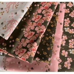 Bawełna HYSOPE kwiatki różowe musztardowe wśród...
