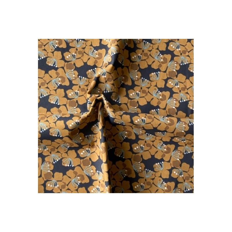 Bawełna KAMEKO kwiatki 4 cm musztardowe gęste...