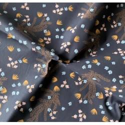 Bawełna HOSIA kwiatki musztardowe niebieskie...