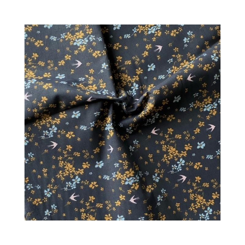 Bawełna SHIMA jaskółki kwiatki drobne...