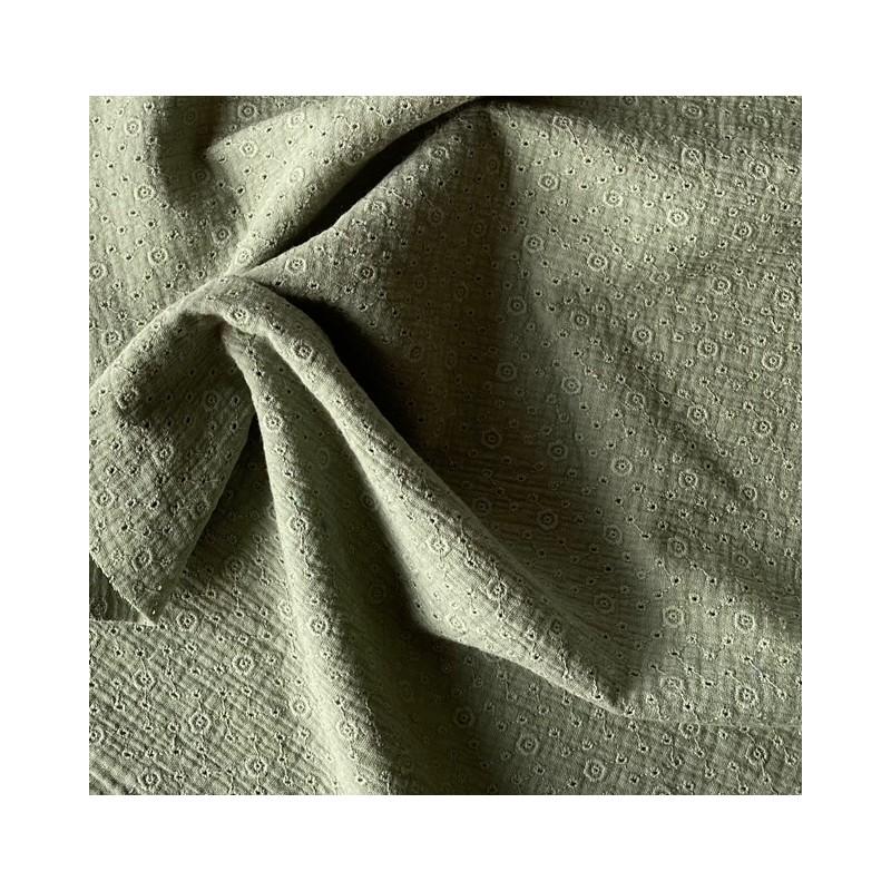 MUŚLIN HAFTOWANY bawełniany zielony  KAKI