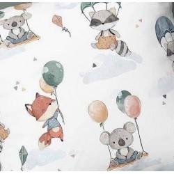 Dzianina dresowa SZOPY KOALA zwierzaki z BALONEM