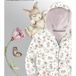 Dzianina dresowa Króliczki wśród kwiatów