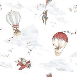 Dzianina dresowa KRÓLIKI RETRO balony na jasnym...