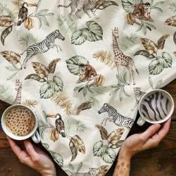 Dzianina dresowa SAFARI WILD zebra żyrafa