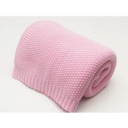 KOCYK bawełniany dziany wzór RYŻOWY 80x100 z ramka kolor różowy OSTATNIE 9 szt