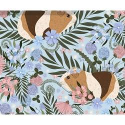 Bawełna premium ŚWINKI MORSKIE wśród liści na niebieskim