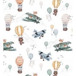 Bawełna premium samoloty balony szopy liski...