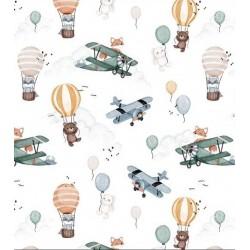 Bawełna premium samoloty balony szopy liski króliczki na jasnym OSTATNIE +1M
