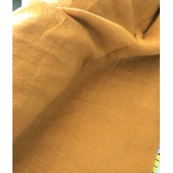 Len washed kreszowany kolor MUSZTARDOWY szer...