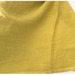Len washed kreszowany kolor ABSYNTHE cytrynowy z domieszką zielonego  szer 145 cm