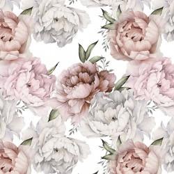 Tkanina bambusowa bambus PEONIE kwiaty różowe...