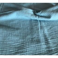 MUŚLIN bawełniany GŁADKI kolor niebieski MORSKI...
