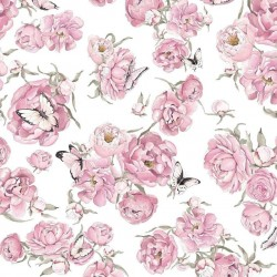 Bawełna premium MOTYLKI PEONIE różowe na białym