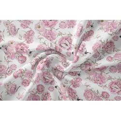 Bawełna premium kwiaty MOTYLKI PEONIE różowe na...