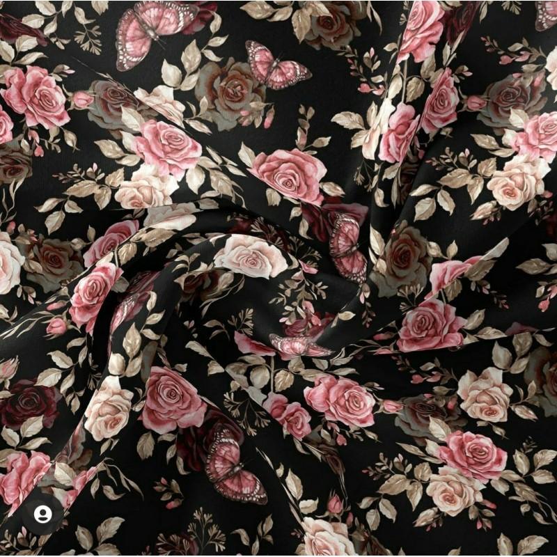 Bawełna premium RÓŻE róż fiolet beż MOTYLKI na...