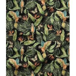 Bawełna premium PAPUGI motyle w dżungli na...