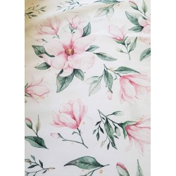 Bawełna premium Kwiaty MAGNOLII różowe ZIELONE...