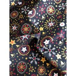 Bawełna wzór świąteczny śnieżynki gwiazdki...